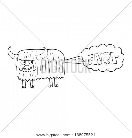 freehand drawn black and white cartoon hairy cow farting