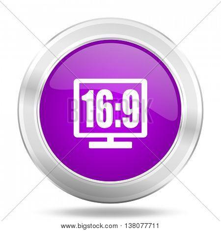 16 9 display round glossy pink silver metallic icon, modern design web element
