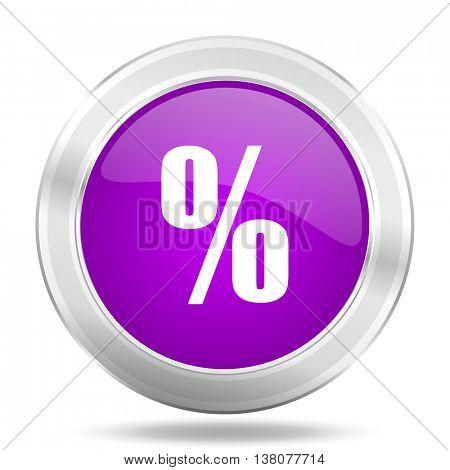 percent round glossy pink silver metallic icon, modern design web element