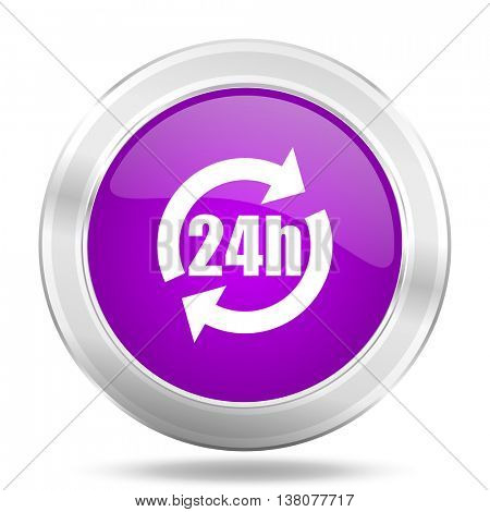 24h round glossy pink silver metallic icon, modern design web element
