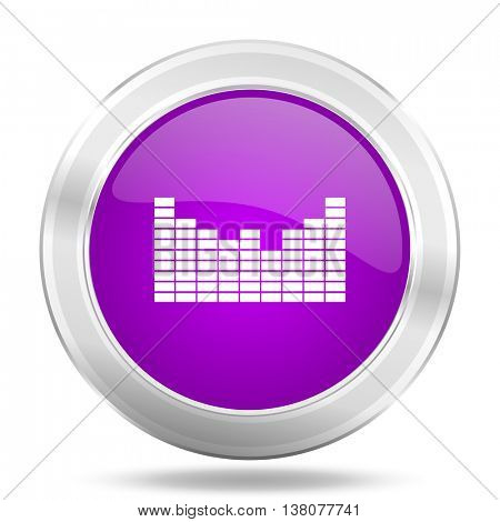sound round glossy pink silver metallic icon, modern design web element
