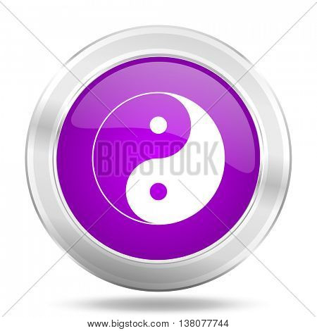 ying yang round glossy pink silver metallic icon, modern design web element