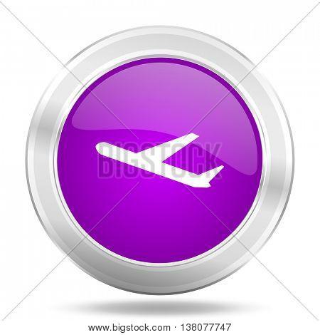 deparures round glossy pink silver metallic icon, modern design web element