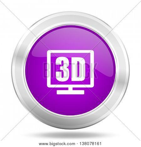 3d display round glossy pink silver metallic icon, modern design web element