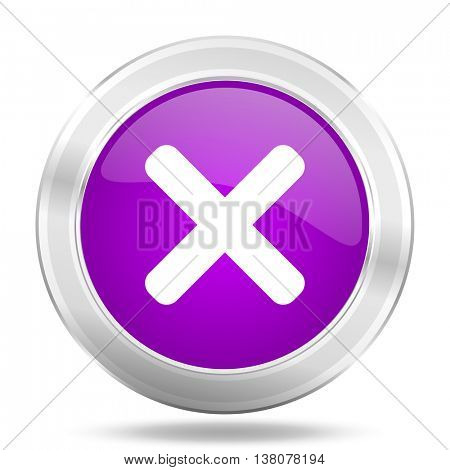 cancel round glossy pink silver metallic icon, modern design web element
