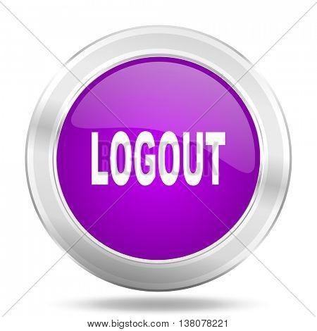 logout round glossy pink silver metallic icon, modern design web element