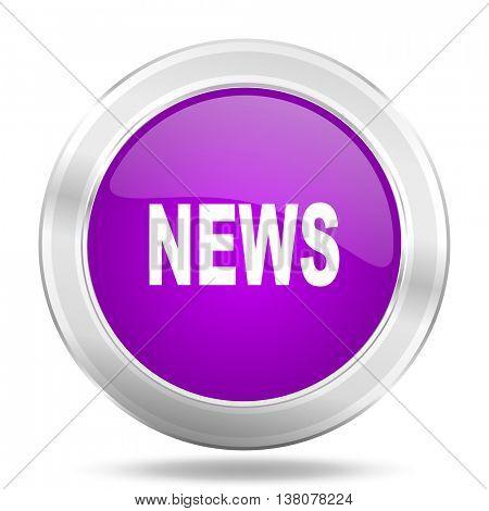 news round glossy pink silver metallic icon, modern design web element