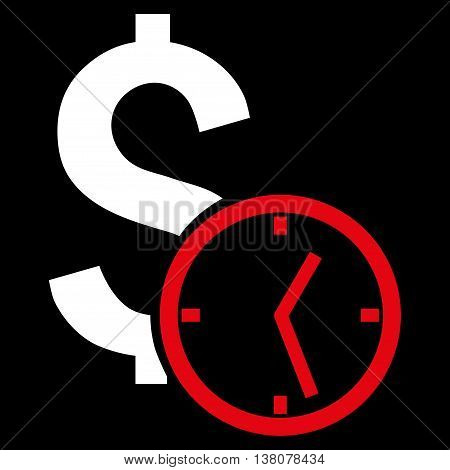 Dollar Credit vector icon. Style is bicolor flat symbol, red and white colors, black background.