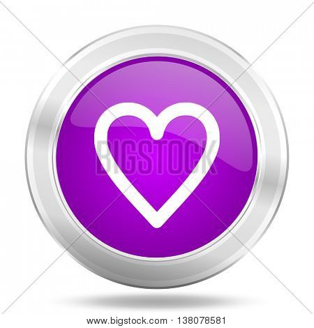 heart round glossy pink silver metallic icon, modern design web element