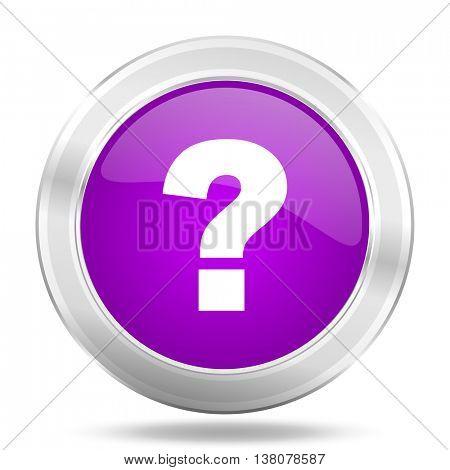 question mark round glossy pink silver metallic icon, modern design web element