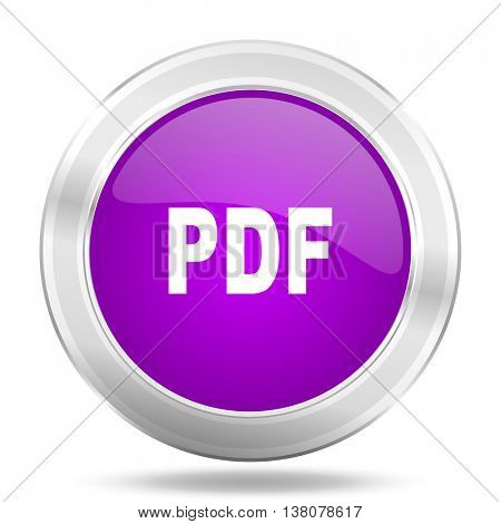 pdf round glossy pink silver metallic icon, modern design web element