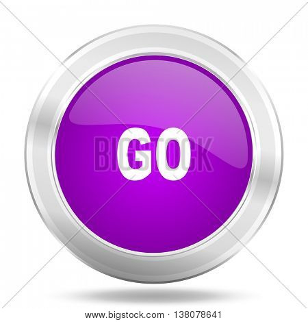 go round glossy pink silver metallic icon, modern design web element