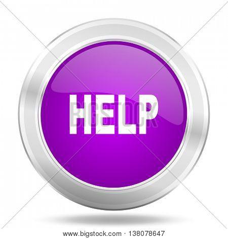 help round glossy pink silver metallic icon, modern design web element