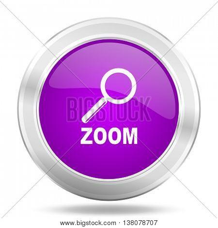 zoom round glossy pink silver metallic icon, modern design web element