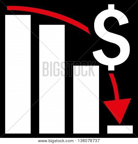 Financial Crisis vector icon. Style is bicolor flat symbol, red and white colors, black background.