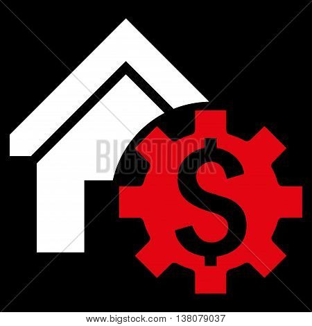 House Rent Options vector icon. Style is bicolor flat symbol, red and white colors, black background.