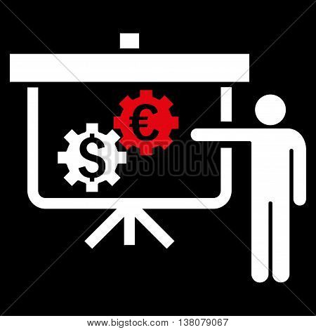 International Banking Project vector icon. Style is bicolor flat symbol, red and white colors, black background.