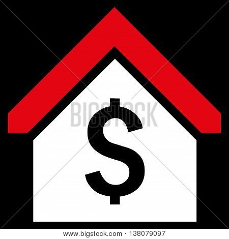 Loan Mortgage vector icon. Style is bicolor flat symbol, red and white colors, black background.
