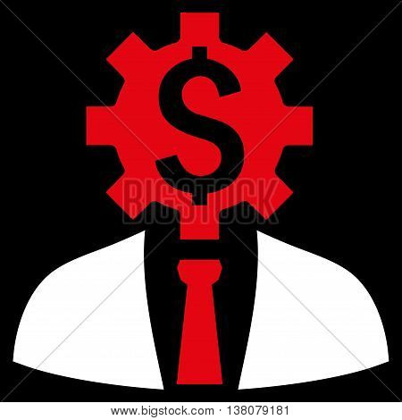 Office Worker vector icon. Style is bicolor flat symbol, red and white colors, black background.