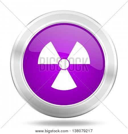 radiation round glossy pink silver metallic icon, modern design web element