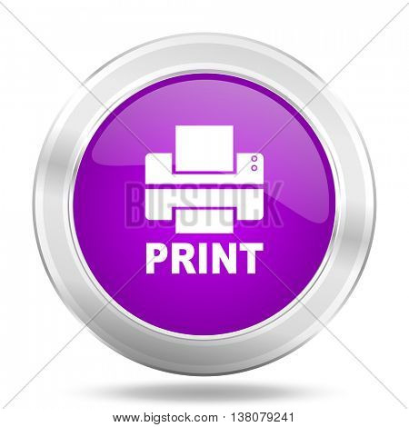 printer round glossy pink silver metallic icon, modern design web element