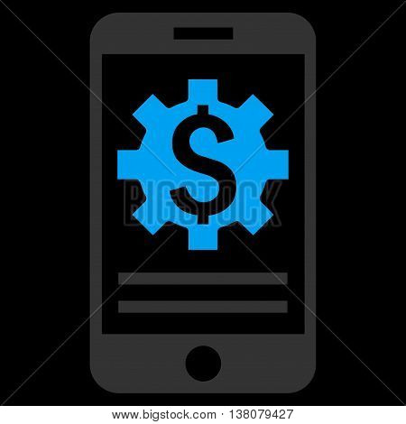 Mobile Bank Options vector icon. Style is flat symbol, blue color, black background.