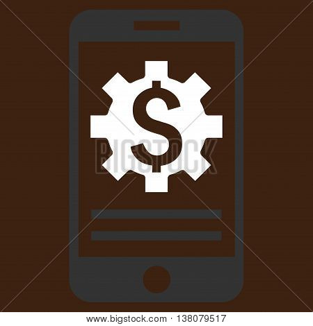 Mobile Bank Options vector icon. Style is flat symbol, white color, brown background.
