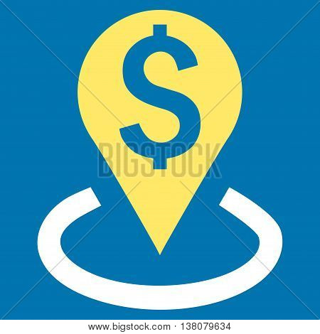 Bank Location vector icon. Style is bicolor flat symbol, yellow and white colors, blue background.