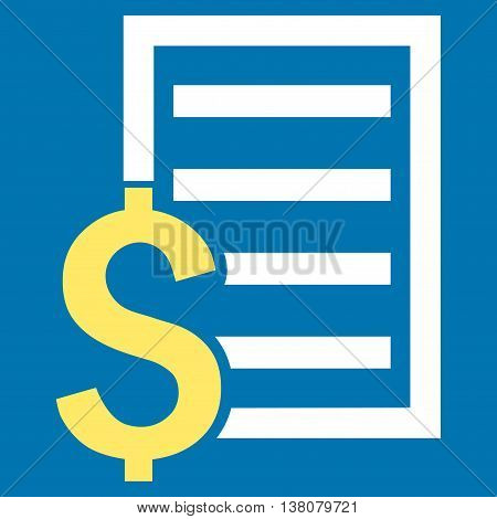 Contract vector icon. Style is bicolor flat symbol, yellow and white colors, blue background.