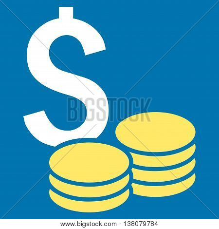 Dollar Cash vector icon. Style is bicolor flat symbol, yellow and white colors, blue background.
