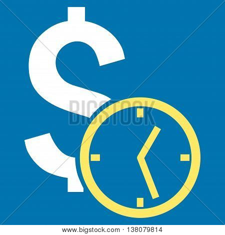 Dollar Credit vector icon. Style is bicolor flat symbol, yellow and white colors, blue background.