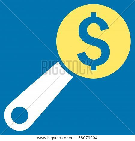 Financial Audit vector icon. Style is bicolor flat symbol, yellow and white colors, blue background.