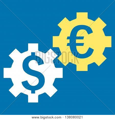 Financial Mechanics vector icon. Style is bicolor flat symbol, yellow and white colors, blue background.