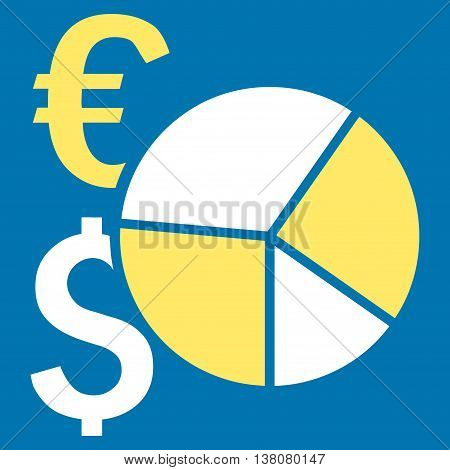 Financial Pie Chart vector icon. Style is bicolor flat symbol, yellow and white colors, blue background.