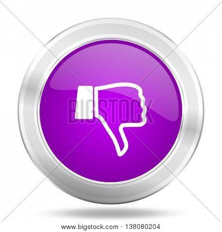 dislike round glossy pink silver metallic icon, modern design web element
