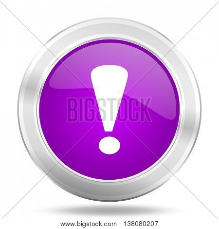 exclamation sign round glossy pink silver metallic icon, modern design web element