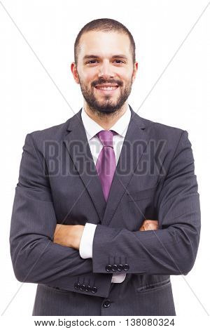 Portrait of a happy smiling young business man, isolated on white background