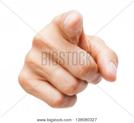 Closeup of a male hand pointing, isolated on white background