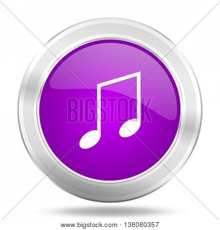 music round glossy pink silver metallic icon, modern design web element