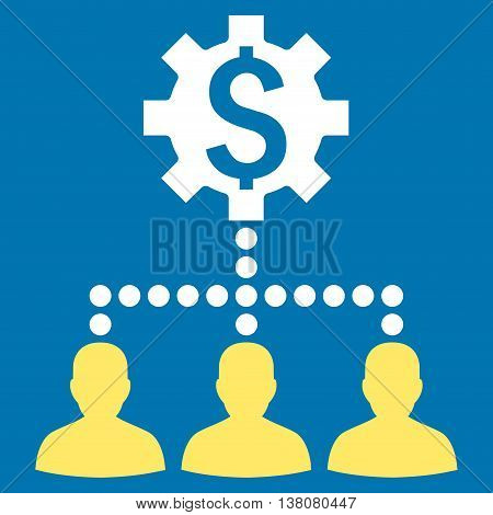 Industrial Bank Clients vector icon. Style is bicolor flat symbol, yellow and white colors, blue background.