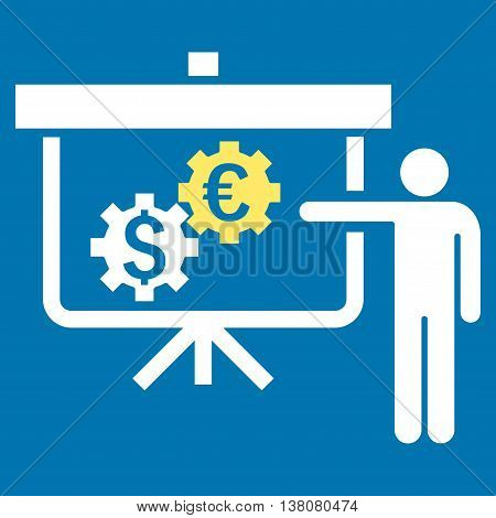International Banking Project vector icon. Style is bicolor flat symbol, yellow and white colors, blue background.