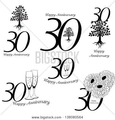 Anniversary 30th signs collection. Anniversary, birthday and jubilee emblem with oak, champagne an flowers
