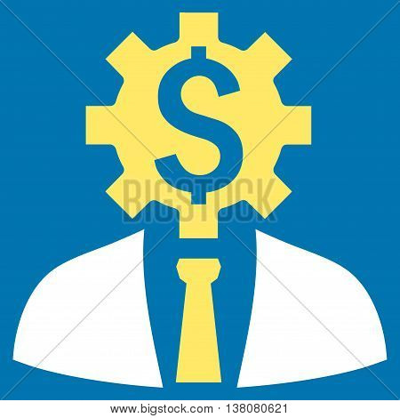Office Worker vector icon. Style is bicolor flat symbol, yellow and white colors, blue background.