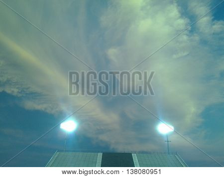 Friday Night lights, Football stadium at sunset