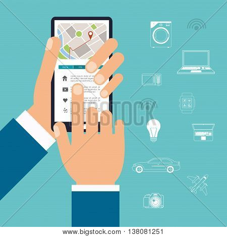 Technology and Internet concept represented by smart city and smartphone icon. Colorfull and flat illustration.