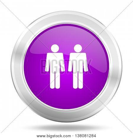 couple round glossy pink silver metallic icon, modern design web element