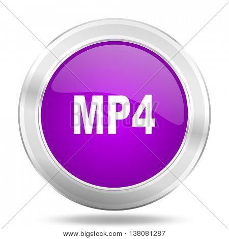 mp4 round glossy pink silver metallic icon, modern design web element