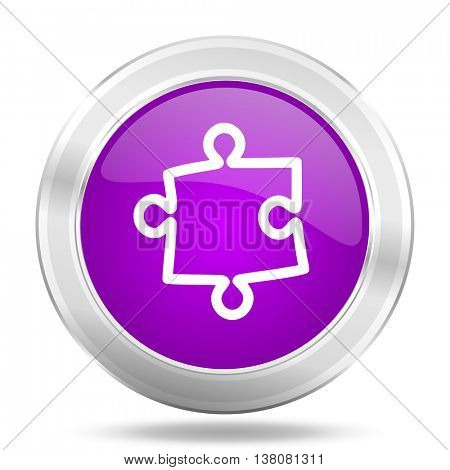 puzzle round glossy pink silver metallic icon, modern design web element
