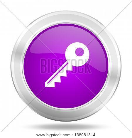 key round glossy pink silver metallic icon, modern design web element
