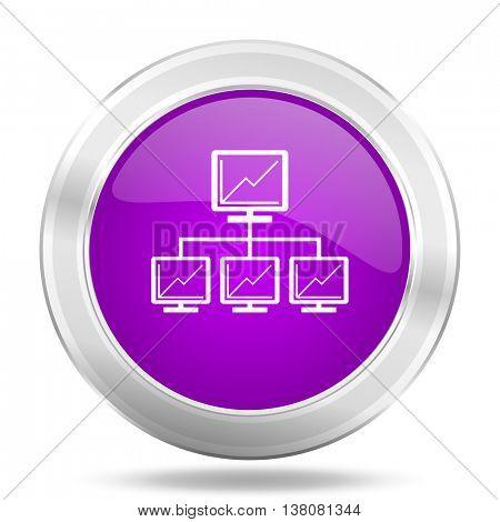 network round glossy pink silver metallic icon, modern design web element